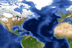 """The continents may become a single landmass—or """"supercontinent""""—and the ocean would close. Map courtesy Reto Stöckli, NASA Earth Observatory"""