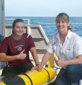 "Glider pilots Karen Dreger and Ruth Mullins-Perry, post-doctoral researcher, ""gig em"" after successful test trials for Texas A&M's gliders."