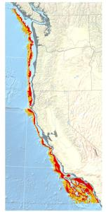 Map of the California Current shows the extent of the low-oxygen seafloor. Yellow indicates intermediate hypoxia, while red zones are areas of severe oxygen loss. Credit: UC Davis