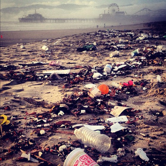 "Marine debris along the Santa Monica coastline in Southern California after the ""first flush,"" the first Fall season rain. (Photo Credit: Heal the Bay)"